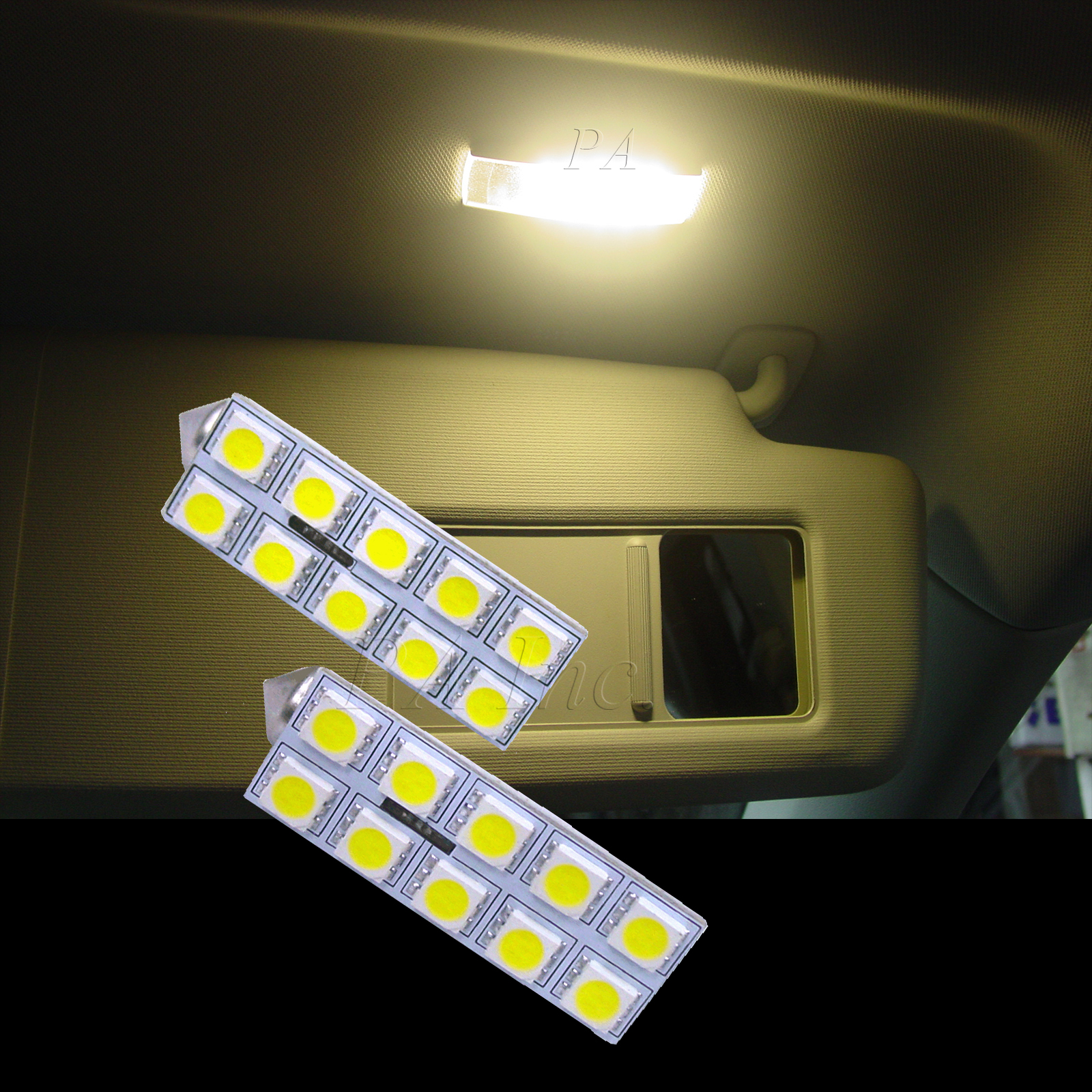 Vanity Lamp In Car : 4x VW Car Tiguan Golf Touran 10 5050 LED Vanity Mirror Light Warm White OBC Free eBay