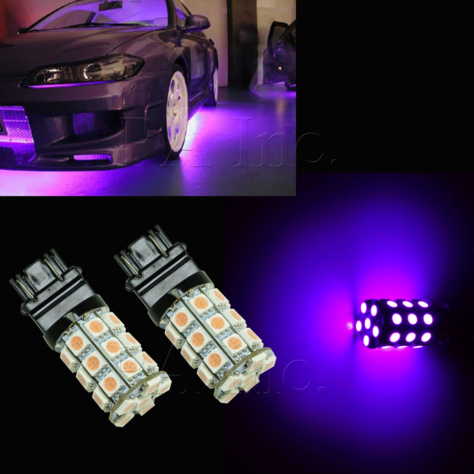 2x PURPLE 3157 30-SMD 5050 LED Car Brake Stop Light Bulbs DRL Lamp  Brightness P2 | eBay