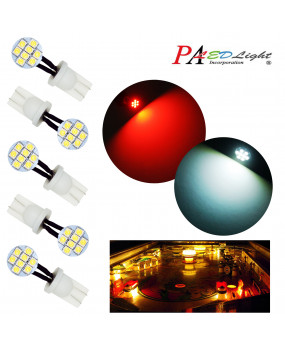 PA 10PCS #555 T10 194 8SMD LED Wedge Flexible LED Light Side View Bulb 6.3V (White,Red)