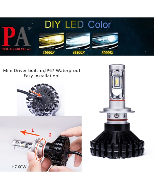 PA 2017 Hot Selling  10 series H7 Car Headlamp High Power PHILIPS ZES LED