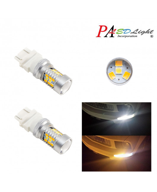 PA 2 x 3157 Dual Color Switchback 28 LED 2835 SMD DRL Direction Light Bulb(Amber+White)