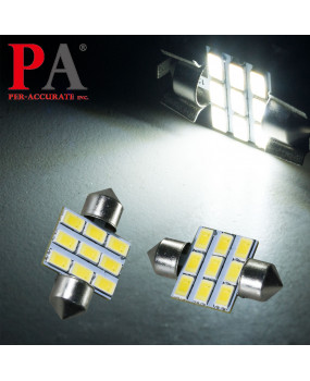 PA 2x WHITE Interior Map Dome License Plate 5630 9 SMD LED Light Bulb Festoon 31mm