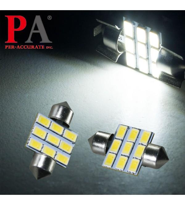 PA 2x WHITE Interior Map Dome License Plate 5630 9 SMD LED Light Bulb Festoon 31mm