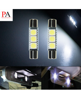 PA 2x White 31mm Sun Visor Vanity Mirror Fuse LED