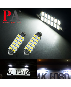 PA 2x WHITE Festoon 41MM Interior Map Dome License Plate 5630 12SMD LED Light Bulb