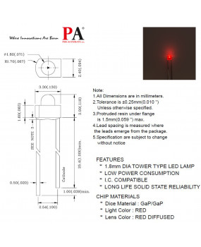 PA 100x 1.8 mm DIP Tower Type LED LAMP RED(L-204HD) 0.8 Luminous