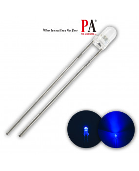 PA 100x 3mm Water Clear Round Top Diode Lights HIGH Intensity Dip LED 1500mcd Ultra Bright (Blue)