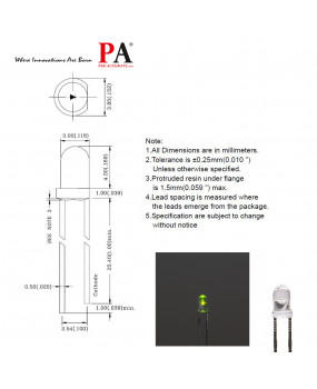PA 100x 3.0 mm DIP LED LAMP Ultra Green (L-314VG3C) 600 Luminous