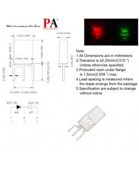 PA 100x 2.04.89.6 mm Rectangular LED LAMP RED & Yellow Green (L-469EGC-5) Red 18 luminous Green 15 luminous