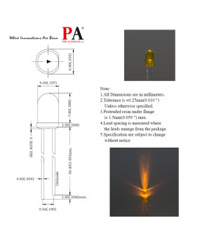 PA 100x 5.0 mm DIP LED LAMP Yellow (L-513YT) 150 LUMINOUS