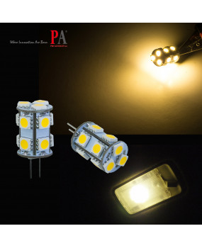 PA 2x G4 13 SMD 5050 LED Bulb DC 12V 3000k Warm White RV Cabinet G4 Spot Light