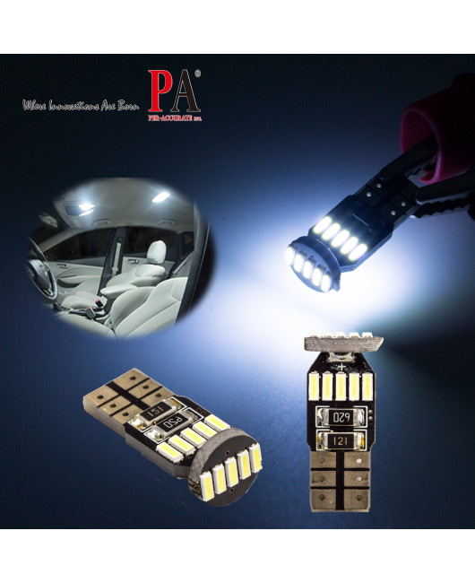 PA LED 10x T10 168 W5W 15 SMD LED CANBUS White Dome Parking Side License Light Bulb