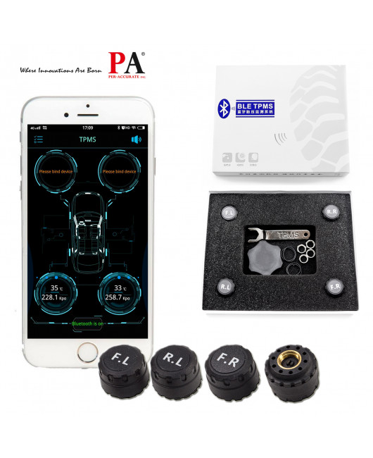 PA LED TPMS Sensor Bluetooth Tire Pressure Monitoring System, Auto Tire Pressure Gauge System with 4 External Sensor Compatible for iOS/Android