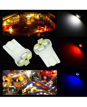 4SMD LED Wedge Pinball Machine Light Bulb BA9S T10 6.3V 10pcs--- PA LED