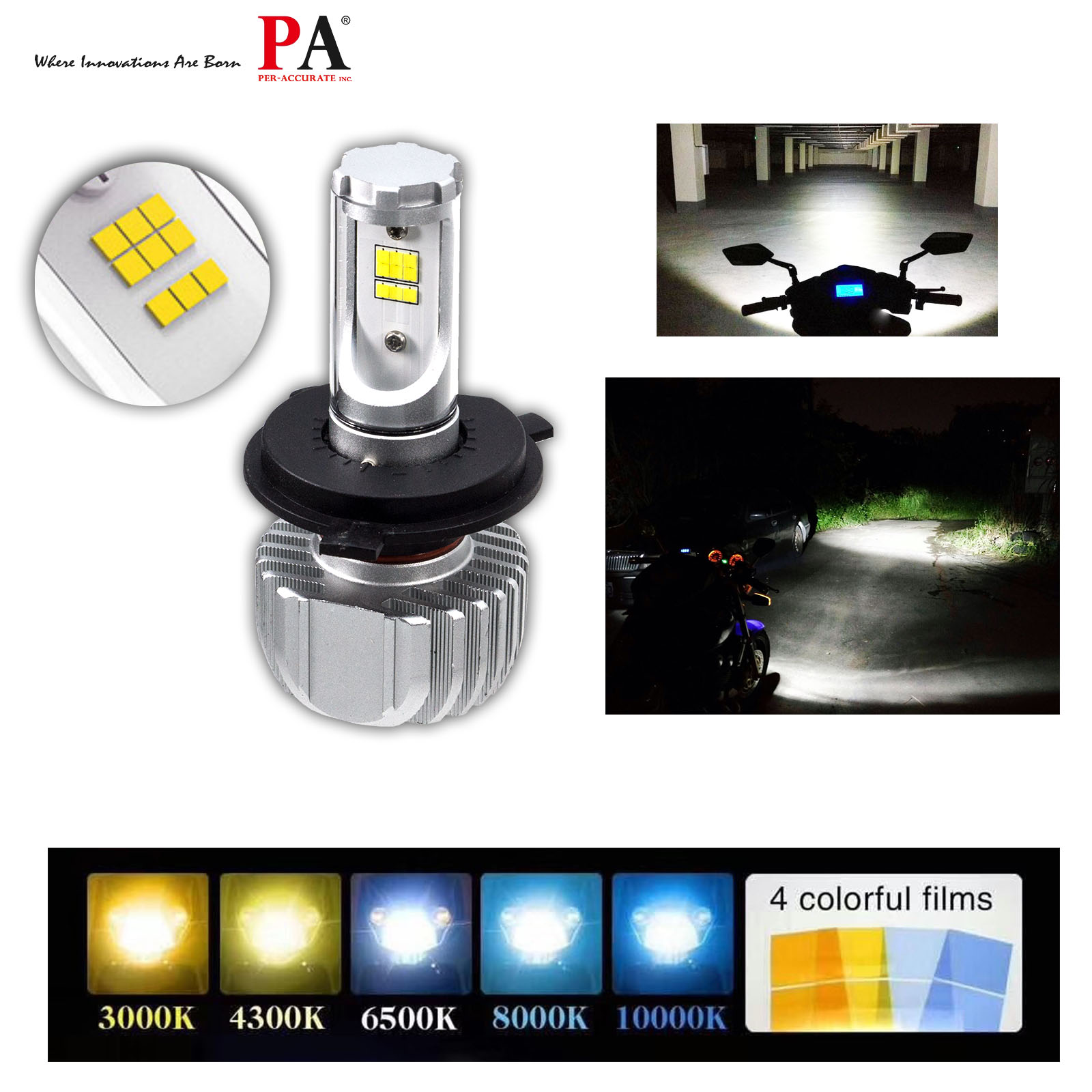 PA LED H4 Auto LED Headlight For Motocycle color change Yellow White Blue